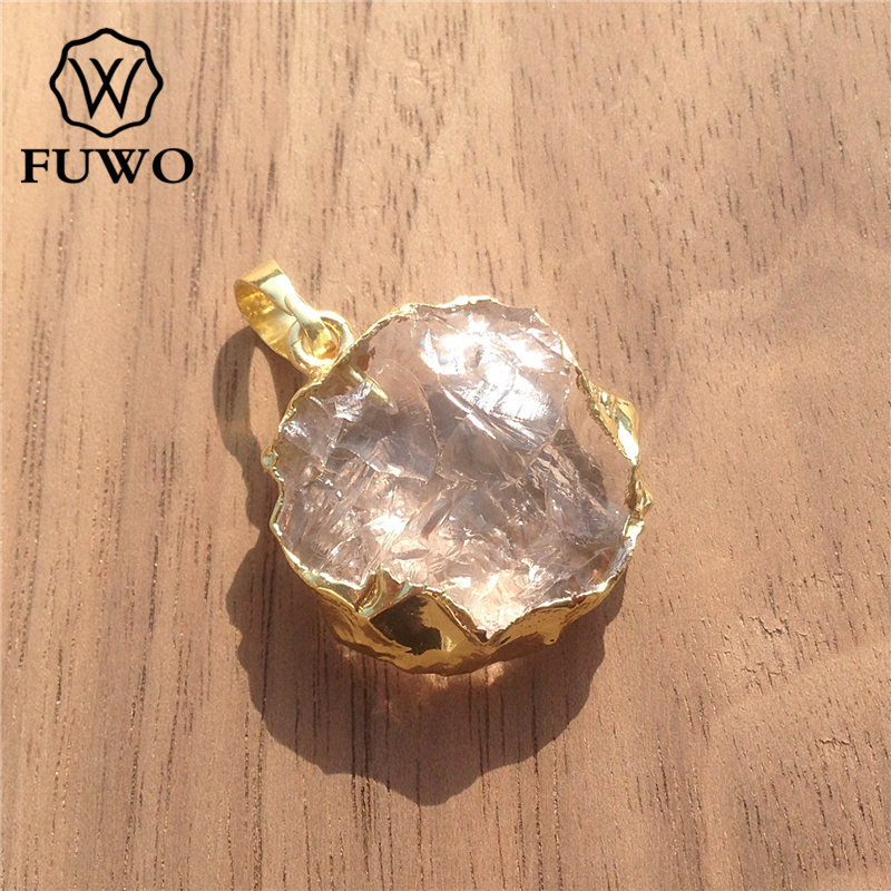 FUWO Natural Crystal Quartz Slice Pendant 24K Electroplated High Quality Round Clear Crystal Healing stone Jewelry PD061