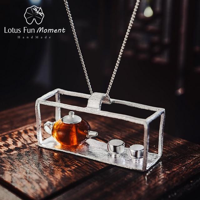 לוטוס כיף רגע אמיתי 925 כסף סטרלינג תכשיטים טבעי אבן בציר קומקום תליון ללא שרשרת לנשים