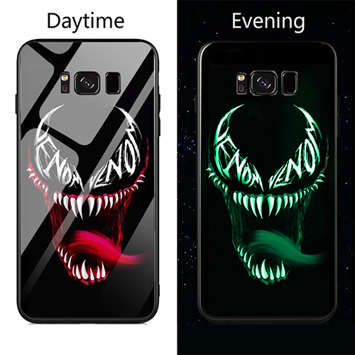 Punisher Deadpool Venom Luminous Glass Phone Case Cover For Samsung Galaxy Note8 Note 8 9 s8 s9 Plus Luxury Brand Glass Case