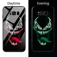 Каратель Дэдпул Venom световой Стекло чехол для телефона чехол для samsung Galaxy Note8 Примечание 8 9 s8 s9 плюс Элитный бренд Стекло случае