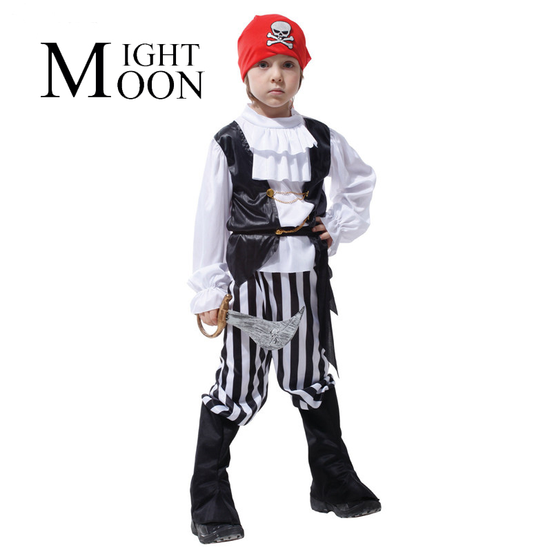 MOONIGHT Boys Pirate Costume Kids Halloween Carnival Costume Pirate Costumes For Boys Children Costumes For Disguise Boy Cosplay