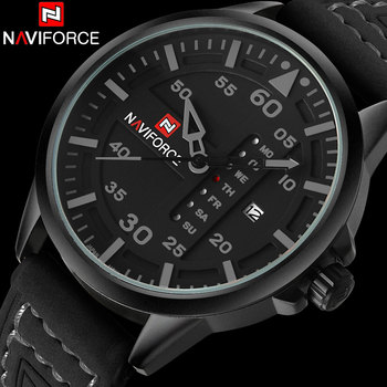 NAVIFORCE Brand Fashion Casual Quartz Watch Men Waterproof Sport Watches Leather Band Week Date Creative Calendar Wristwatches image