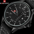 NAVIFORCE fashion sports men quartz watches leather strap luxury brand watches man black case 30M waterproof relogio masculino