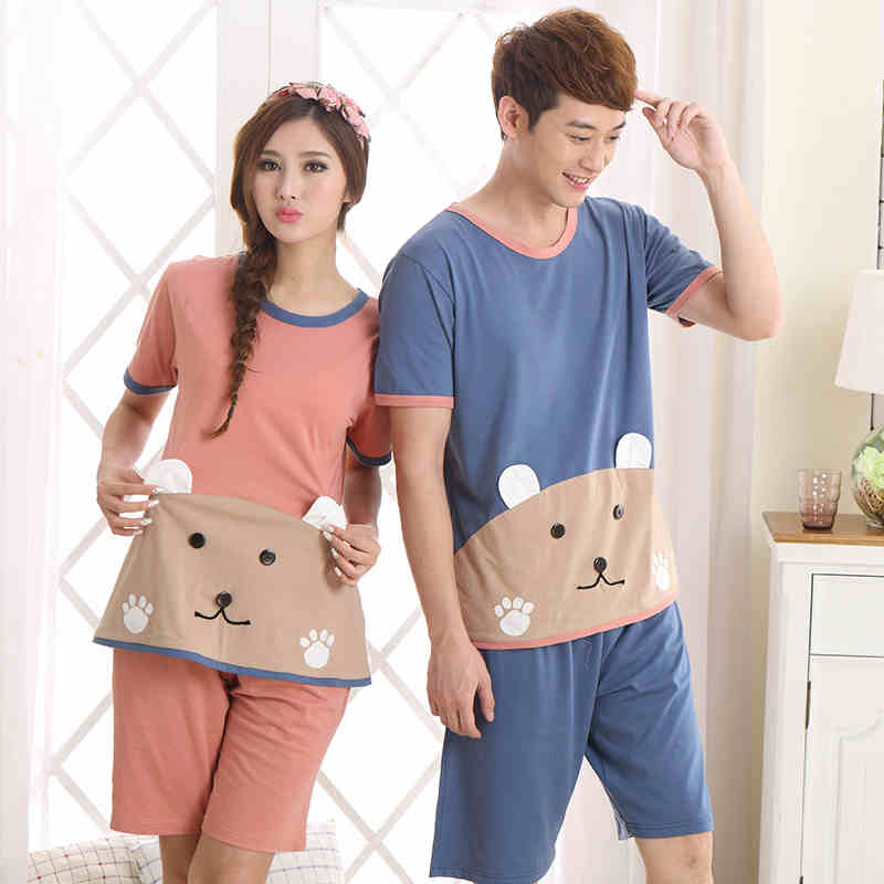 cddfd891d1e2 Pajamas For Women Summer Love Men Pyjamas 100% Cotton Cartoon Pajama Sets  Couples Matching Pajamas