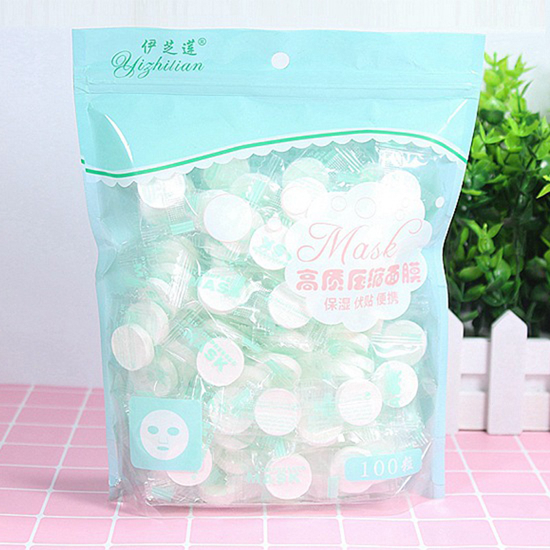 100PCS/Set Disposable Wrapped Masks Women Girls Facial Cotton Compressed Mask Sheets Tablets for DIY Skin Care image