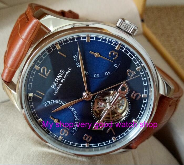 new blue dial 43mm PARNIS Automatic Self-Wind mechanical movement men watches power reserve Mechanical watches 181