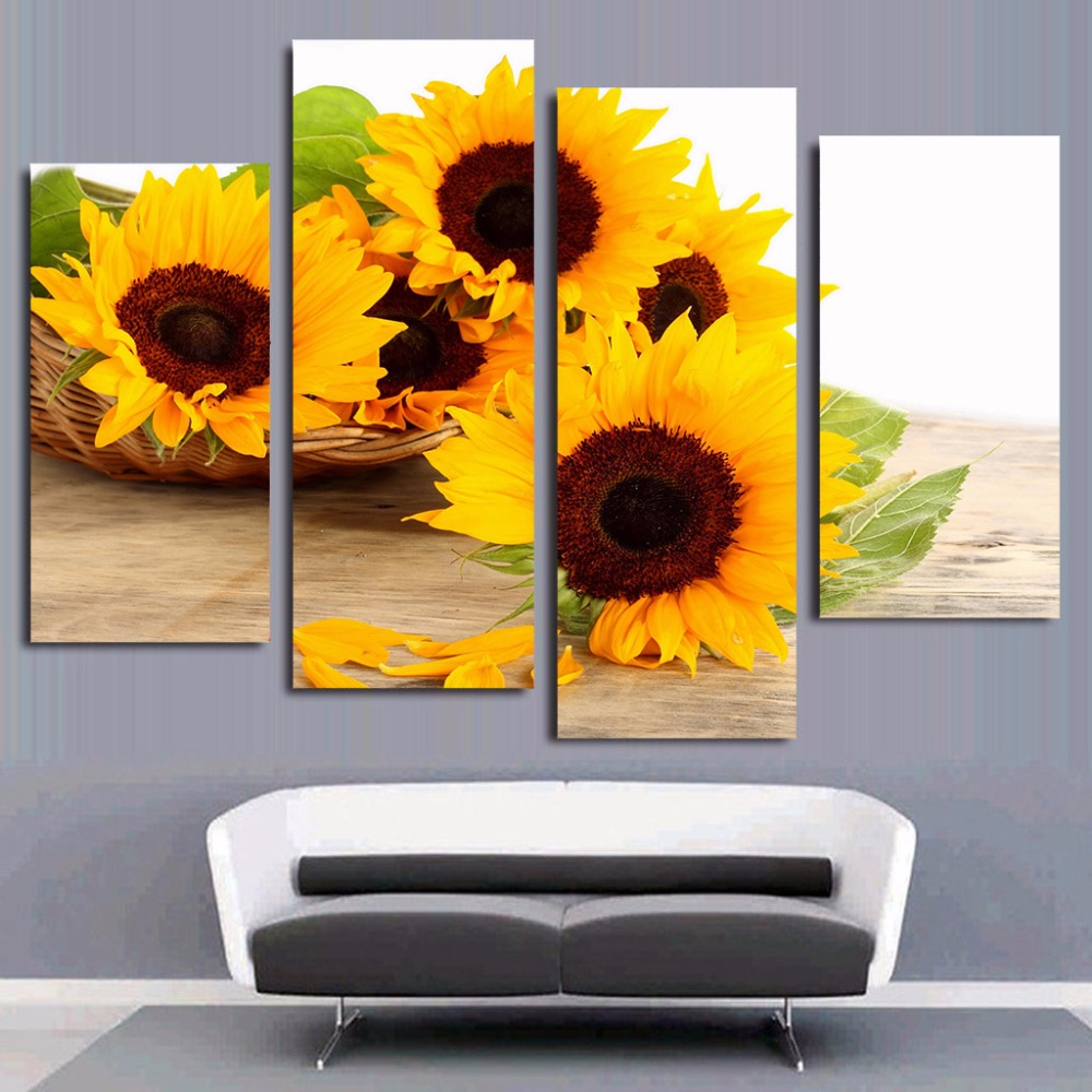 4 Panel Canvas Painting Canvas Art Sunflowers Petals Blooms HD ...
