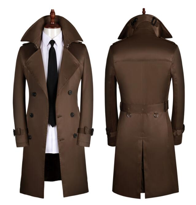 Mens trench coats man Medium length coat men clothes slim Business Casual overcoat long sleeve 2019 spring autumn new designer in Trench from Men 39 s Clothing