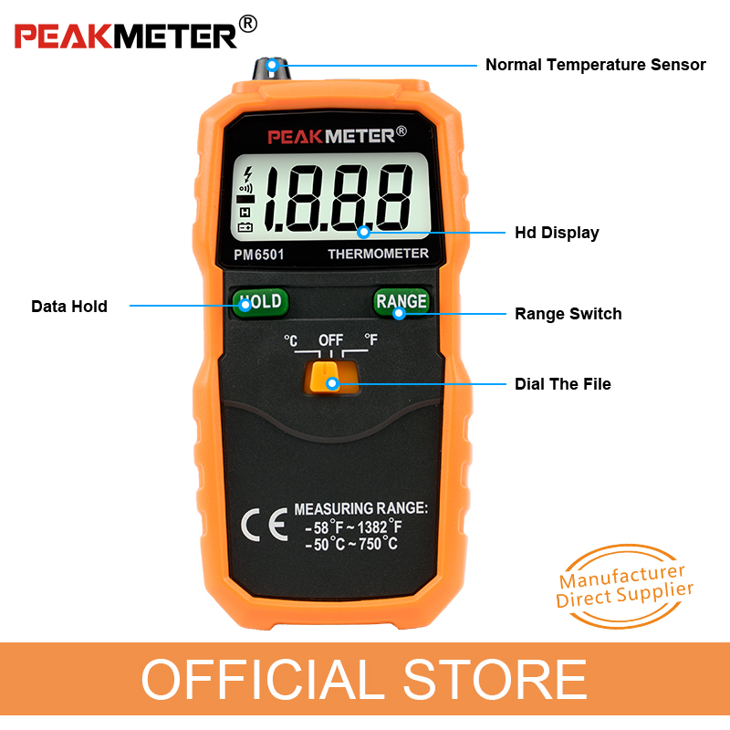 Hivatalos PEAKMETER PM6501 LCD kijelzős digitális hőmérő, K - Mérőműszerek - Fénykép 4