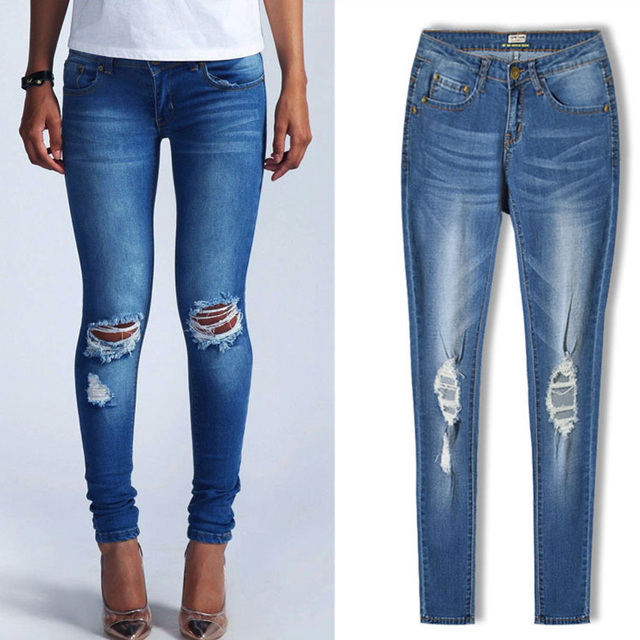 Modern Denim Jeans For Women Low-Waist Stretch Elegant Slim Skinny Pencil Stylish Cotton