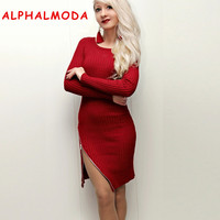 ALPHALMODA Oblique Zipper Sexy Knitted Dress Women 2018 Business Lady Dress Tight Skinny Irregular Hem Zipper Vestidos