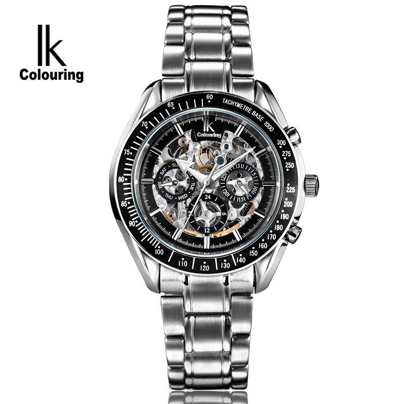 New 2017 IK Colouring Fashion Mechanical Skeleton 6 Hands Watch Auto Stainless Steel Men's Watches Wristwatch Free Ship 2017 ik colouring fashion relogio masculino skeleton auto mechanical watch wristwatch gift free ship