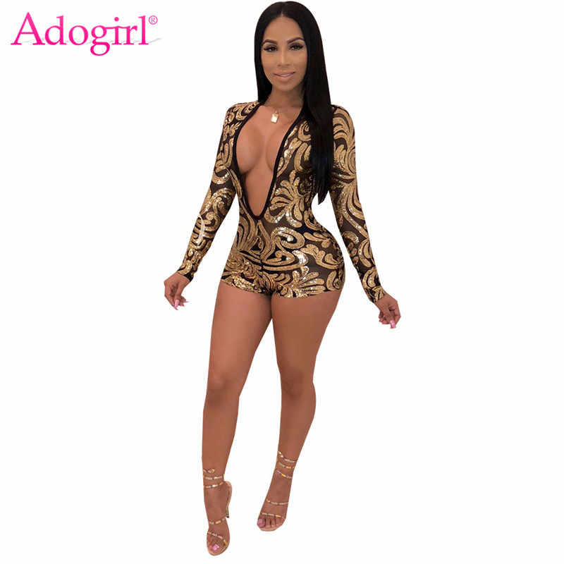 Adogirl Ouro Floral Lantejoulas Sheer Malha Jumpsuit Mulheres Sexy Profunda V Pescoço Longo Manga Romper Bar Night Club Partido Playsuit outfits