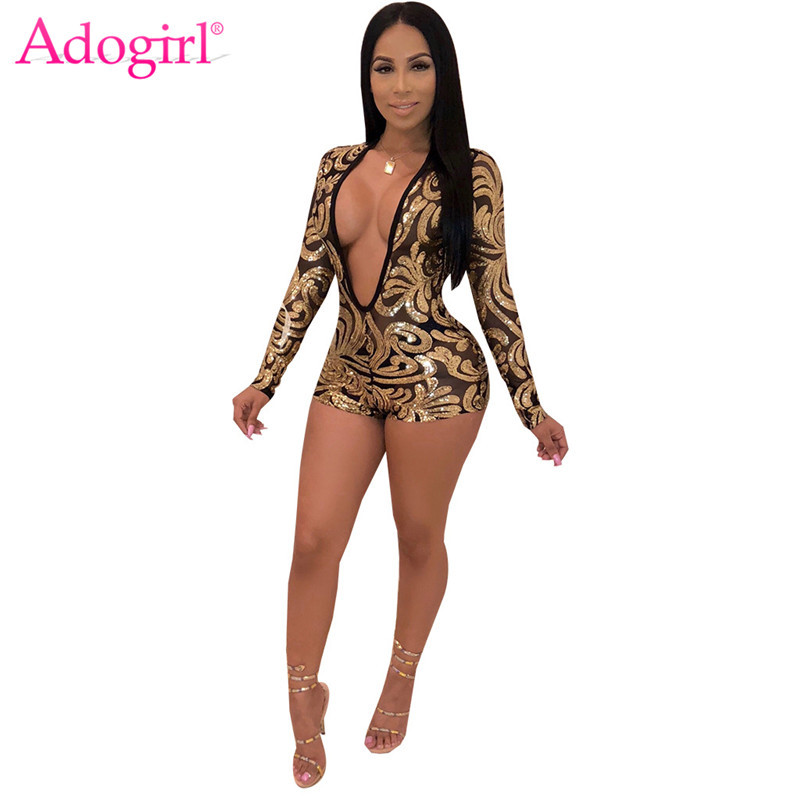 Adogirl Gold Floral Sequins Sheer Mesh Jumpsuit Women Sexy Deep V Neck Long Sleeve Romper Bar Night Club Party Playsuit Outfits