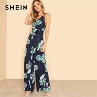 SHEIN Tropical Print Wide Leg Cami Jumpsuit 2018 Women V Neck Spaghetti Strap Sleeveless High Waist