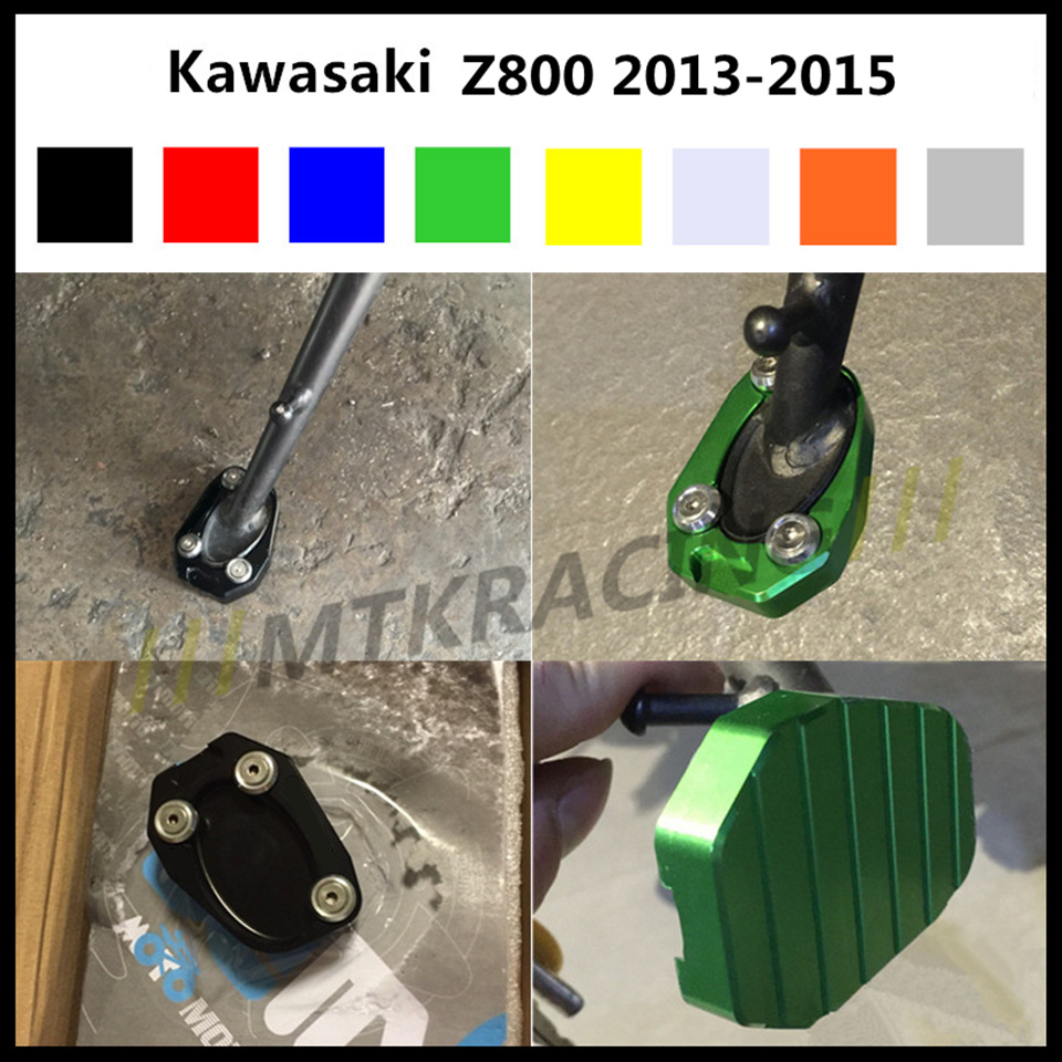 CNC Aluminum Motorcycle Side Stand Enlarger Plate Kickstand Enlarge Extension Pad Modified Accessory for Kawasaki Z800 2013-2015 стоимость