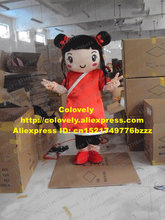 Lively Red Ni Hao Kai Lan Girl Mascot Costume Mascotte Little Girl Lassock With Big Ears Long Red Tang Suit No.2098 Free Ship(China)