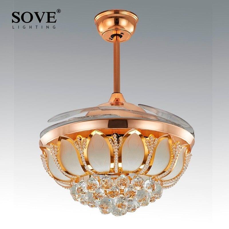 Sove Modern LED Crystal <font><b>Chandelier</b></font> Fan Lights <font><b>Chandelier</b></font> Fan Lamp Crystal Lights Folding Restaurant Fan With Remote Control 220V