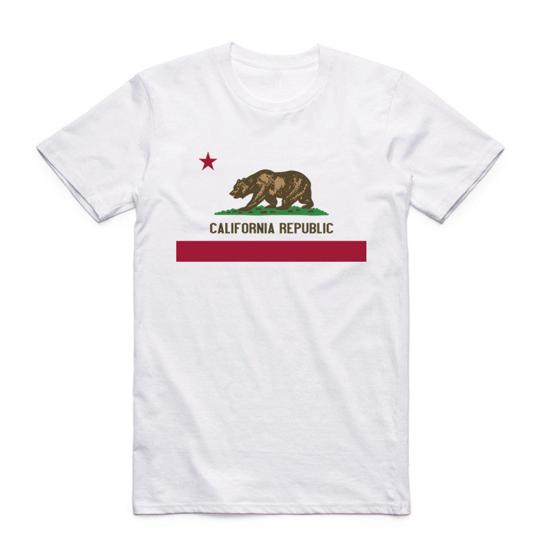Summer Fashion Men Print California Republic Vintage   T     Shirt   Short Sleeves O Neck California Bear   T  -  shirt