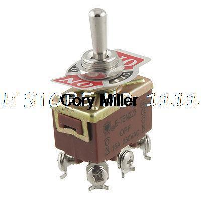 On/Off/On 3 Way DPDT Momentary Toggle Switch AC 250V 15A w 6 Screw Terminals dpdt 2p2t on on 6 solder lug terminals panel mount toggle switch