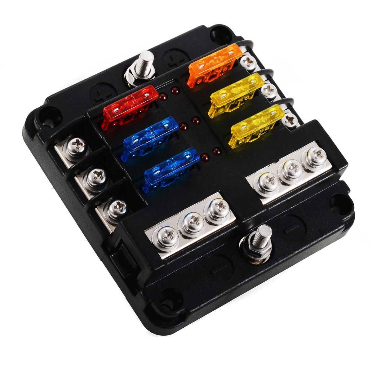 rv fuse box covers 12v 24v plastic cover fuse box holder 6 way blade fuse block case  12v 24v plastic cover fuse box holder 6