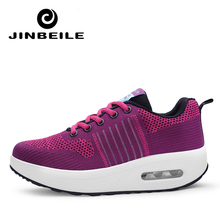 Jinbeile 5 CM Flyknit toning Air Shoes Lady Lose Weight Sneakers Body shaping fitness slimming Swing sports shoes for female