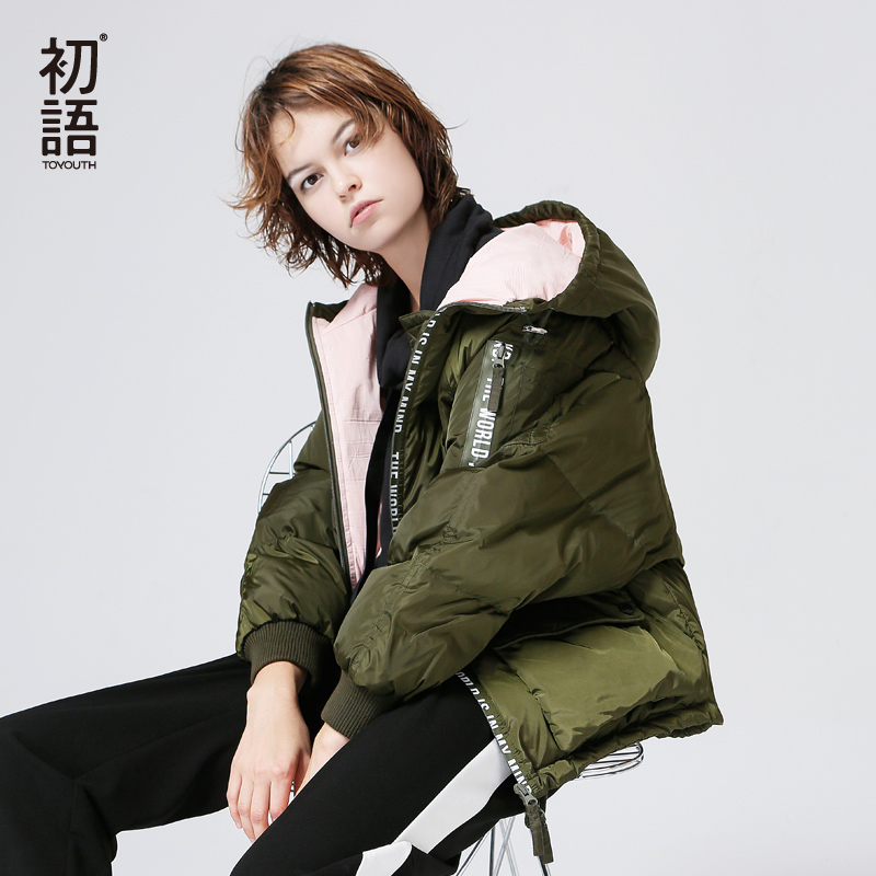 Toyouth   Down     Coat   2019 Autumn Women Contrast Color Anti-Static Casual Short Hooded   Down   Jacket Overcoat Female