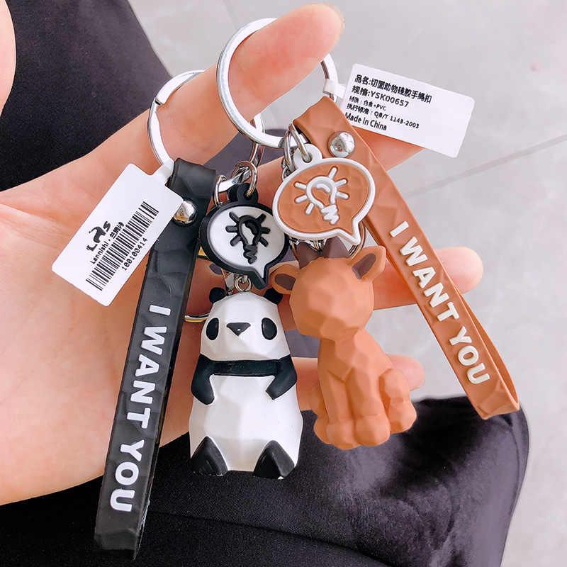 Geométrica chaveiro Pequeno Dinossauro bonito Dos Desenhos Animados Panda chaveiros Anel chave Animal Mulheres bolsa Charme Pingente de Presente de Alta Qualidade