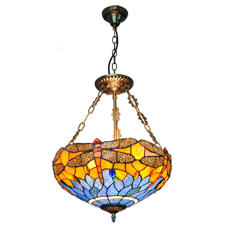 European Tiffany 3 Lights Inverted Hanging Lamp Blue Dragonfly Stained Glass Pendant Light Home Decorative Lighting Fixture P704 pastoral tiffany glass pendant lights latin american colorful tiffany lighting lamp mediterranean hanging glass lamp cover lampe