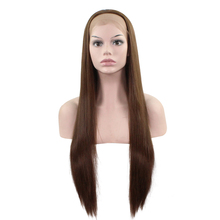 JOY&BEAUTY 28 Long Straight Lace Front Wig Ombre Golden Gray Brown 12 Color Synthetic Heat Resistant Fiber