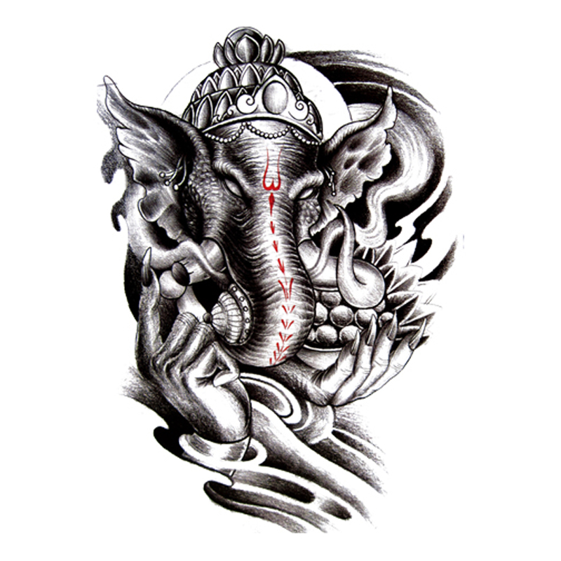 10pc black elephant temporary tattoo waterproof men women for Temporary elephant tattoo