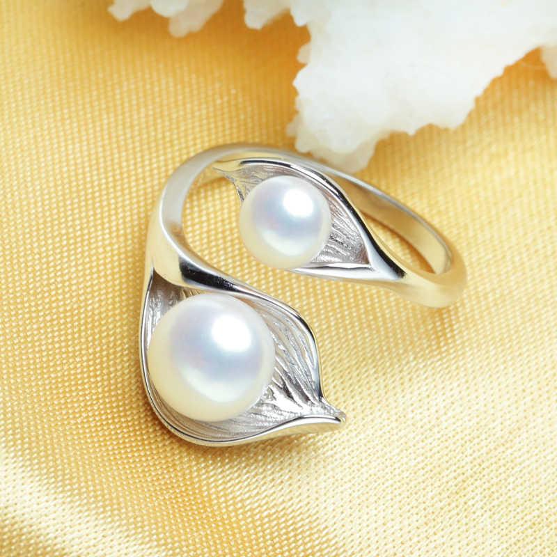 Fenasy leaf design natural de água doce pérola brincos conjuntos jóias zircônia cúbica 925 sterling silve colar conjunto anel ajustável