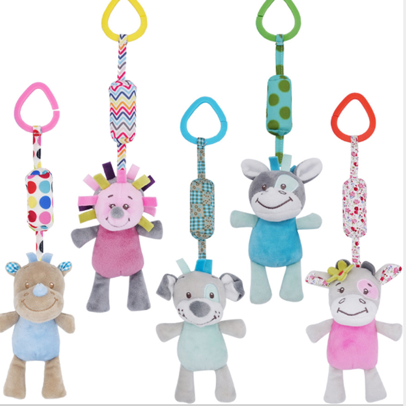 Cartoon Rattle Cute Baby Toy Soft Baby Carriage Toys For Children Puzzle Bed Hanging Wind Chime 0-12 Months Newborn Gift