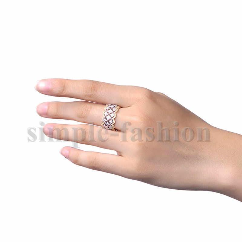 Роскошные широкий круг женские обручальные кольца розовое золото 925 стерлингового серебра модные маленькие круглые фианит AAAAA циркониевое кольцо ювелирные изделия