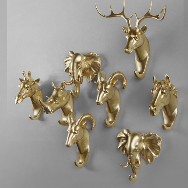 Gentil Rural Style Fashion Resin Gold Animal Head Clothes Hanging Coat Towels Hooks  Hanger Decorative Wall Hooks