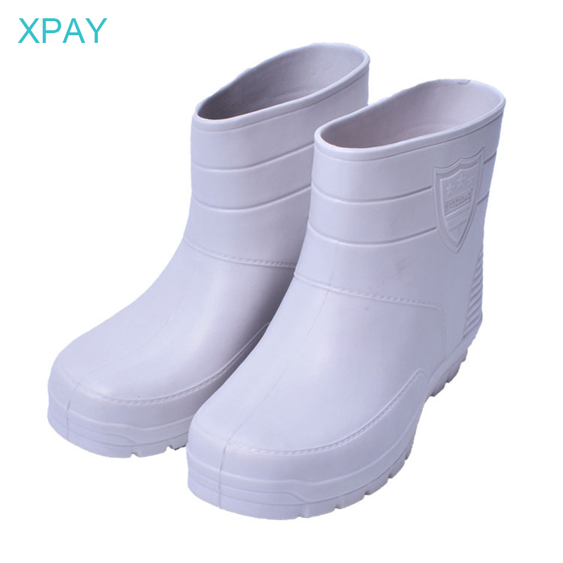 White Low Barrel Men's Rain Boots Food Processing EVA Lightweight 18cm Height Acid-resistant Suit For Who Fishing Hike