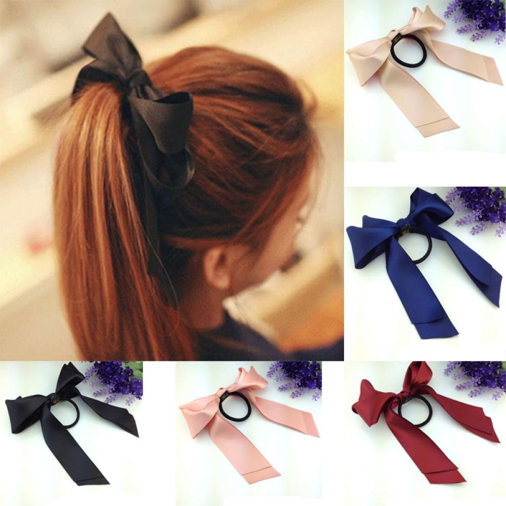 Women Satin Ribbon Bows Elastic Hair Band Scrunchies Ponytail Holder Headbands Hair Accessories For Girls Hairbands