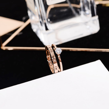 YUN RUO 2018 Roman Numeral 2 Layers Crystal Ring Rose Gold Color Fashion Titanium Steel Jewelry Wedding Ring Birthday Gift Woman