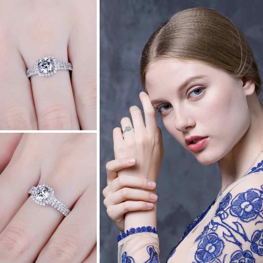Jewelrypalace 1ct CZ Halo Pertunangan Cincin 925 Sterling Silver Cincin untuk Wanita Anniversary Cincin Pernikahan Cincin Perak 925 Perhiasan