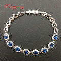18 k white gold with 100% natural sapphire bracelet female Blue 4.8 carat diamonds Fine jewelry