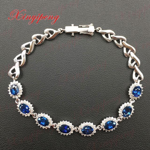 18 k white gold with 100% natural sapphire bracelet female Blue 4.8 carat diamonds Fine jewelry