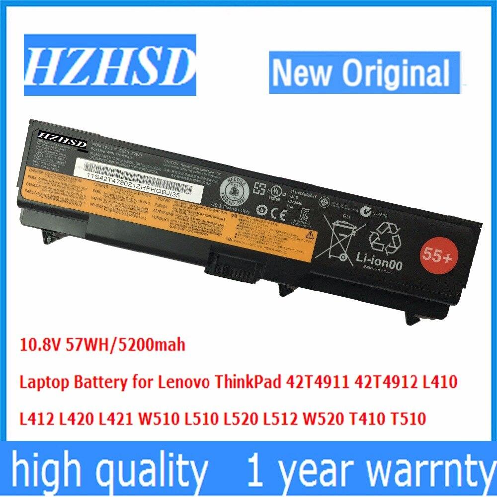 Оригинальный аккумулятор для ноутбука Lenovo ThinkPad 42T4911 42T4912 L410 L412 L420 L421 W510 L510 L520 L512 W520 T510 10,8 В 57WH