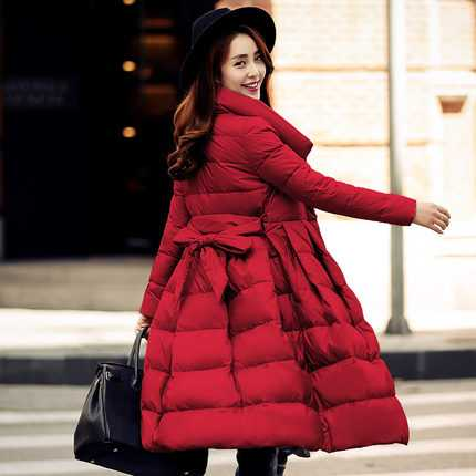 03e718a3273b New Arrival Fashion Autumn Winter White Duck Down Jackets Mid Long Belt  Fluffy Hem Stand Collar Warm Overcoat Women Coat H6201-in Down Coats from  Women s ...