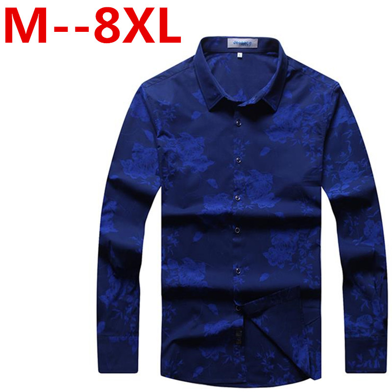 9XL 8XL 7XL 6XL New Mens Casual Shirts Fashion Long Sleeve Brand Printed Male Formal Business