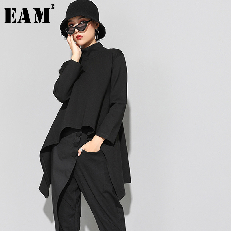 [EAM] 2020New Spring Autumn  High Collar Long Sleeve Black Irregular Hem Loose T-shirt Women Fashion Tide All-match JK397