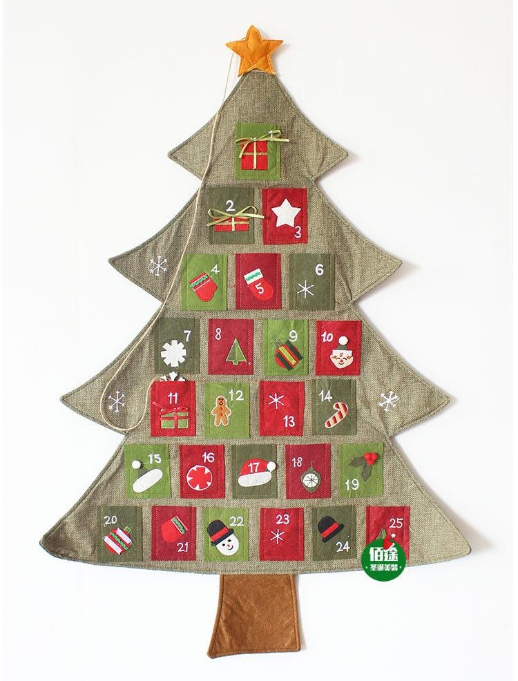 Us 16 99 Aliexpress Com Buy New Hanging Christmas Advent Calendar Countdown Fabric Felt Xmas Tree Wall Decor From Reliable Decorative Decorative