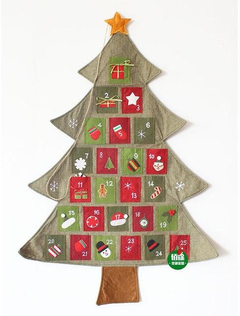 nuevo colgante navidad advenimiento calendarios cuenta atrs telas fieltro navidad rbol decoracin de la pared - Arbol De Navidad De Tela