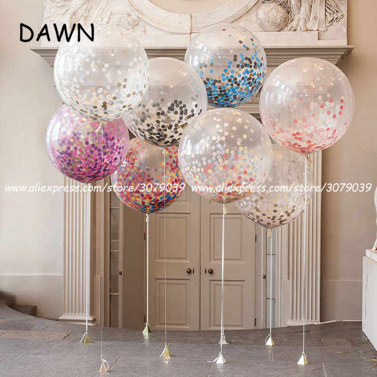 5pcs/lor Confetti Balloons Clear Latex Balloon Happy Birthday Baby Shower Wedding Party Decorations Transparent Balloons