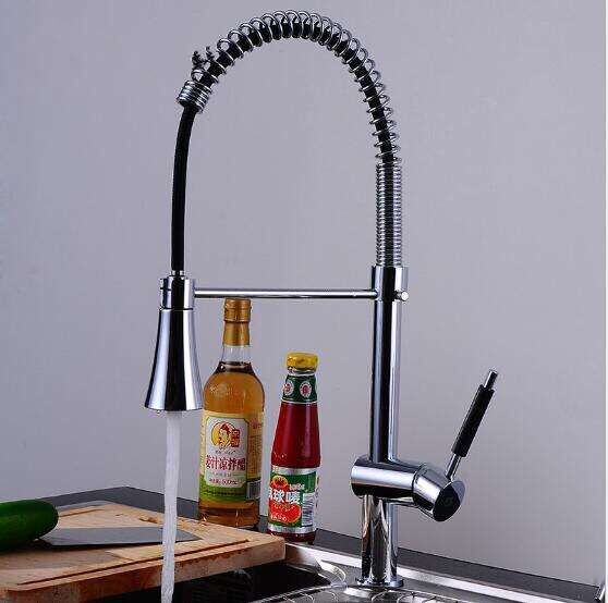 Free Shipping pull out Kitchen faucet luxury water tap chrome swivel kitchen sink Mixer tap kitchen vanity faucet sink faucet free shipping high quality chrome brass kitchen faucet single handle sink mixer tap pull put sprayer swivel spout faucet