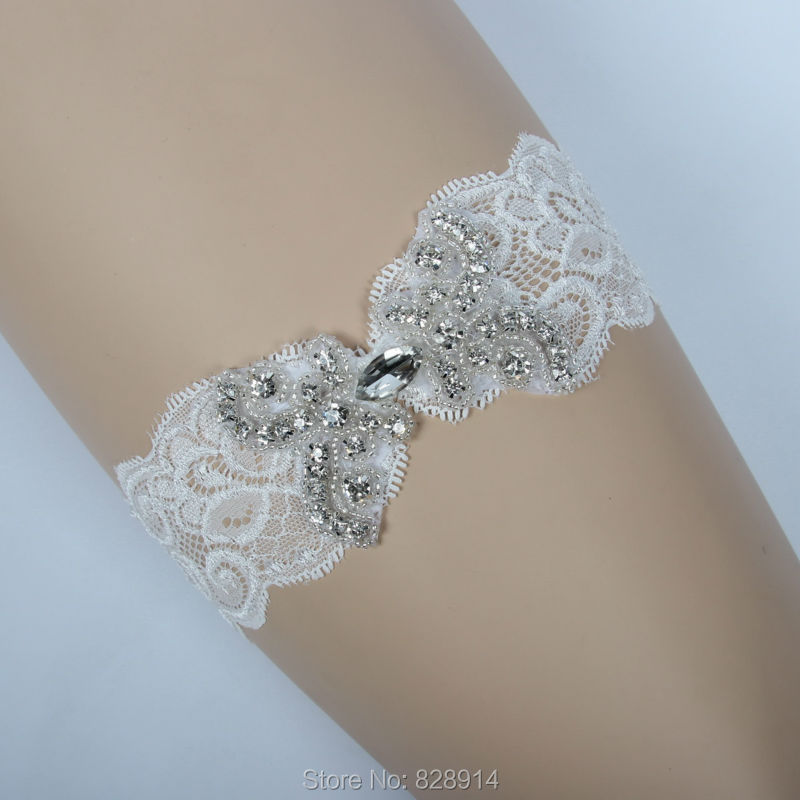 Crystal Wedding Garter: New Original Design Luxury Crystal Beaded Applique Lace